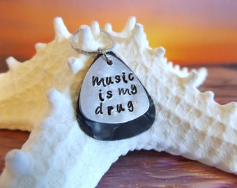 engraved guitar pick necklace, black, personalized,  music is my drug, fine beach jewelry, ready to ship, gift for him boyfriend gift rocker