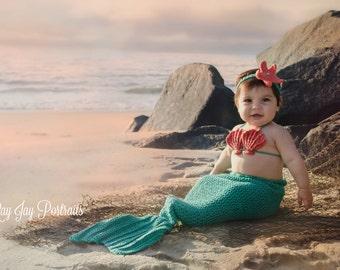 Crochet Baby Mermaid Outfit/Baby Mermaid Tail/Baby Mermaid prop/Toddler Mermaid Costume/Baby Mermaid Costume/Mermaid Outfit/Mermaid Costume