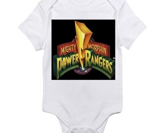 custom baby onesie vintage Mighty Morphin Power rangers