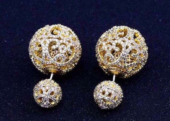 ec65d6df6 Filigree double side ball earrings, vintage jewelry, art deco earring,  elegant bridal pave
