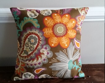 Fall Paisley and Floral Pillow Cover (choose size) - Indoor or Outdoor