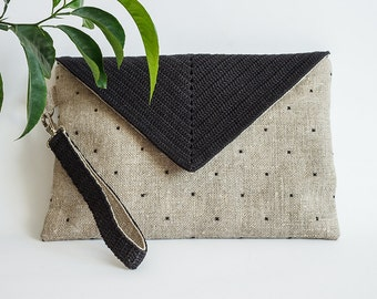Clutch bag Bag with strap Linen bag Handbag Burlap clutch