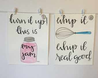 SET OF TWO Watercolor kitchen puns