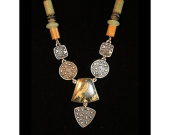 Gicker Necklace & Earrings Set, Custom Designed and Handmade, SS, Natural Stones
