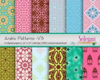"eid decoration "" Arabic Patterns -V3 ""Digital Scrapbooking Paper 12x12 Printable Arabic Pattern, Islamic, Texture, Eid, Background, Download"