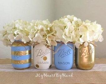 Baby Blue And Gold Mason Jar Centerpieces, Baby Shower Mason Jars, Mason  Jar Decor