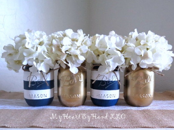 Nautical baby shower centerpiece navy blue and white stripes for Cheap nautical decorating ideas