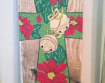 Poinsettias and Bells Cross Rustic Pallet Sign