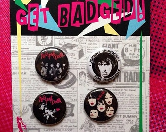 New York Dolls 1 inch badge set of four