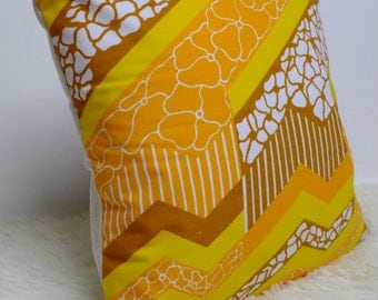 "Retro Cushion Cover, Original 80s Fabric, 16x16"", Yellow, Orange, Geometric, Funky, Campervan, GREAT GIFT!"