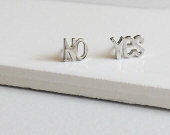 YES / NO Earrings, Silver Earrings