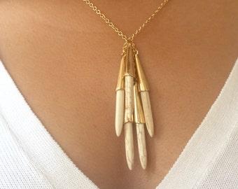 Long Hoard Turquoise Necklace, Boho Layering