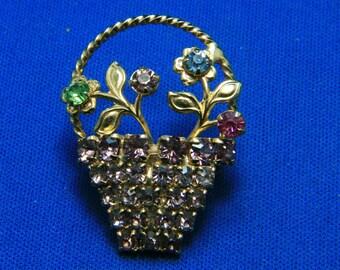 Vintage Sparkling Rhinestone Flower Basket Pin Brooch in Gold Tone Metal