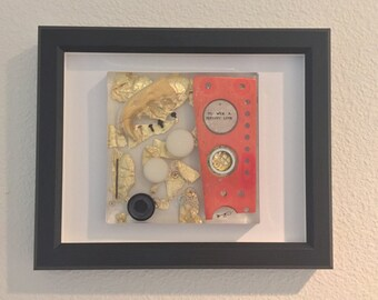 To Win a Person's Love - resin, found object, gold leaf wall art piece