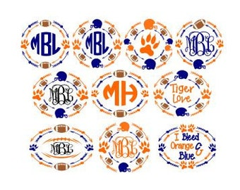 Set of 10 Tiger Football Monogram Frames; SVG, DXF, PS, Ai and Pdf Digital Files for Electronic Cutting Machines
