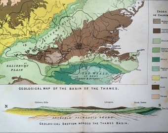 1878 Geology of Thames Basin original antique map, cartography, geography, historical map, wall decor, home decor,
