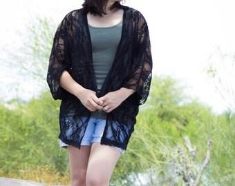M/L Black Lace Kimono Cardigan