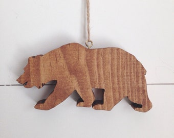 Wood California Bear Ornament
