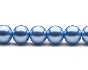 4-16mm carolina blue round glass pearl