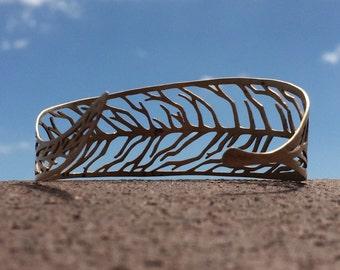 cuff bracelet, willow bracelet, bronze willow leaf, willow leaf veins, botanical cuff bracelet