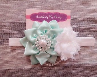 Mint Green Headband- Holiday Headband- Baby Headband- Newborn headband- Green headband- Flower headband- Toddler headband