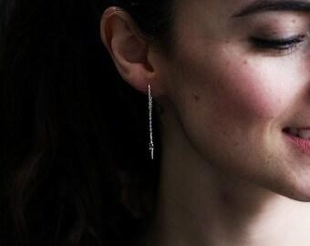 Beautiful Silver Spike drop earrings, Silver threader earrings, Silver Dangle Earrings, Silver Spike earrings, Minimalist Jewelry