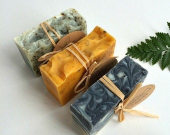 Soap Set of 3 Natural Handmade Soaps- Birthday Soap Gift Set- Soap Gift Set