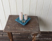 Candle tray with butterfly and candels for dollhouse