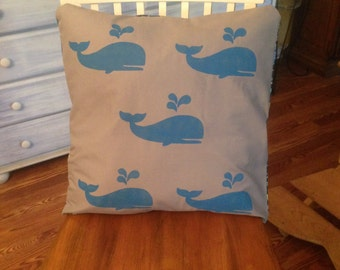 Glow in the dark blue whales on gray