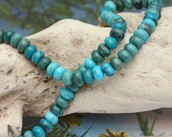 Sea Sediment Jasper Rondelle Beads 8 x 5mm / Fossil Jasper Gemstone Beads / Beautiful blue green Jasper beads / Blue Jasper Spacer Beads