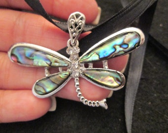 BLOWOUT SALE>>DRAGONFLY pendant>>Genuine Abalone Shell,sparkling cz's>> gorgeous detailing, brand new!!!