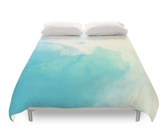 Watercolor Duvet Cover, Bohemian Bedding, Painting Art, Elegant Gift, Blue Pattern, Abstract Soft Texture, Chic Bed, Twin, Full, Queen, King