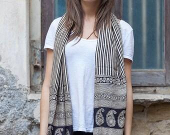 Pure tightly woven silk shawl in black with cream stripes