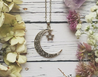 Moon & Star Necklace / Boho Necklace, Witchy Necklace, Boho Moon and Star Necklace, Boho Moon Necklace, Charm Chokers, Boho Jewellery
