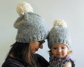 Hat Knitting Pattern // Knit Beanie Pattern // Chunky Pom Pom Hat // Double Pom Pom Hat Pattern // Chunky Knit Hat Pattern // Beanie Pattern