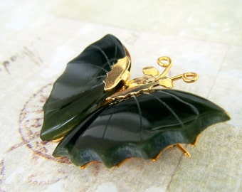 Vintage Jade Butterfly Brooch/Pin