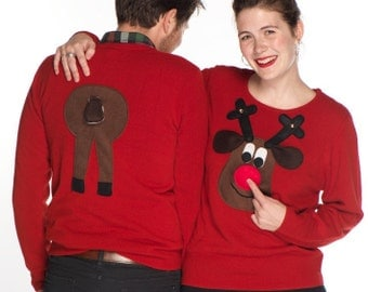 Ladies Front and Rear Squeaky Nose Rudolph Christmas Sweaters - Brown Rudolph