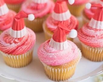 mini Santa hat cupcake toppers