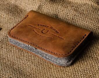 Le titulaire de carte de visite, porte carte de crédit bancaire, portefeuille, cuir orange crazy horse, laine feutre, pour homme et femme en cuir