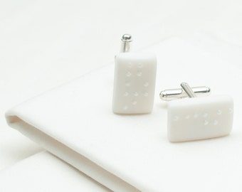 Personalized Braille white porcelain cufflinks with white shiny  dots, personalized jewelry initial cufflinks, customize initial cuffli