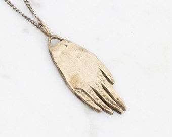 Hand amulet necklace - brass on silver