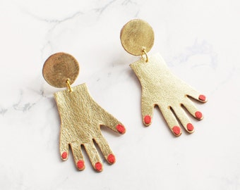 Gold and red leather hand earrings