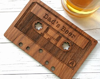 Cassette Tape Coaster - Retro Drinks Coaster - personalised wooden coaster - gift for Dads - fathers day gift - oak coaster - musical gift -