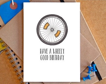 Bicycle Birthday Card - Funny Bicycle Card - Funny Bike Card - Bicycle Art - card for cyclist - card for dad - card for boyfriend