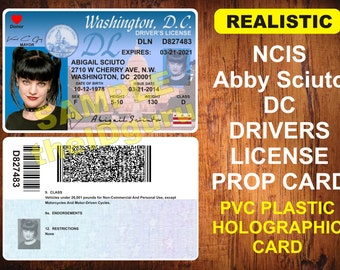 N.C.I.S. (Abby Sciuto) DC License Card Prop ~ PVC Plastic w/ a Secure Hologram on front and back - USA Made - Realistic Looking!