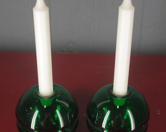 Pair of vintage green orb candle holders