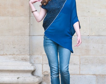 Tunic, oversize, asymmetrical, ocean blue, model Umi