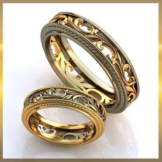 Vintage Style Wedding Rings Wedding Ring Set 14K By WorldOfGold