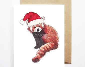 Christmas Card - Red Panda, Cute Christmas Card, Animal Christmas Card, Holiday Card, Xmas Card, Seasonal Card, Christmas Card Set
