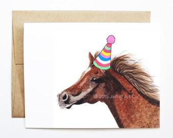 Birthday Card - Horse, Animal Birthday, Animal Card, Cute Greeting Card, Kids Birthday Card, Baby Birthday Card, Blank Horse Card